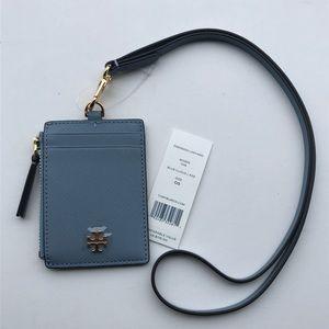 Tory Burch Emerson Lanyard ID Wallet - Blue Cloud